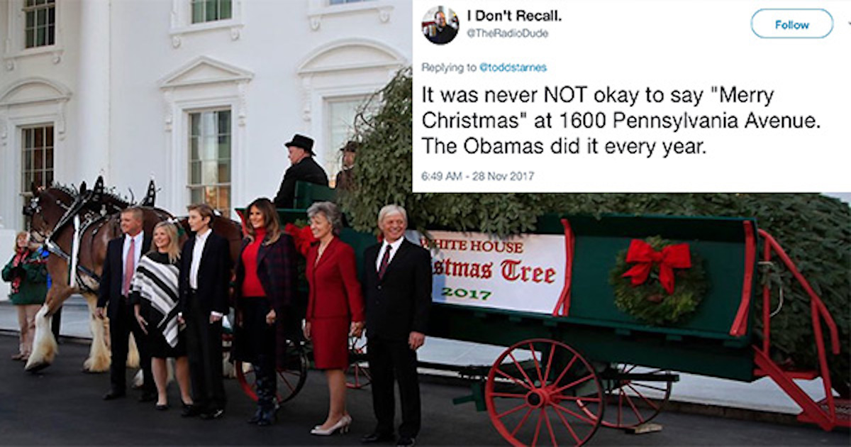 Trump Praised For 'Bringing Merry Christmas Back To The White House'–But Twitter Has The Receipts