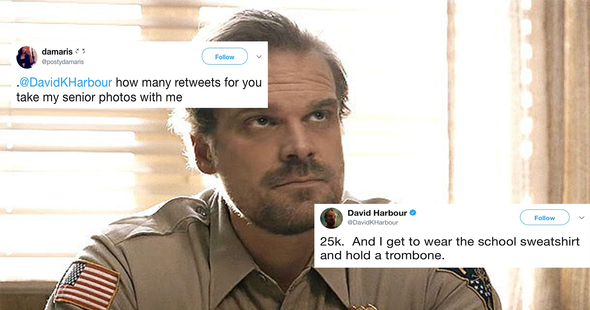 'Stranger Things' Actor David Harbour Poses In Senior Photos With A Fan—And It's Everything