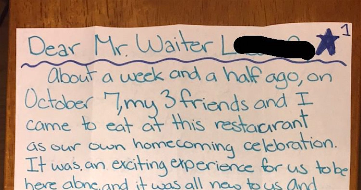 Teens' Response To Accidentally Undertipping Their Waiter Is Delightfully Pure