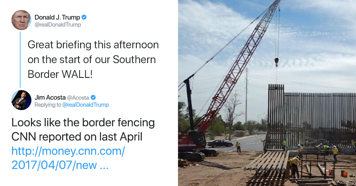 Trump Tweets Out Photo Of 'Wall Construction' That Started Under Obama