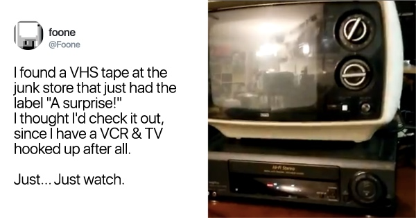Man Buys VHS At Junk Store Labeled 'A Surprise'—And Boy, Does He Get One