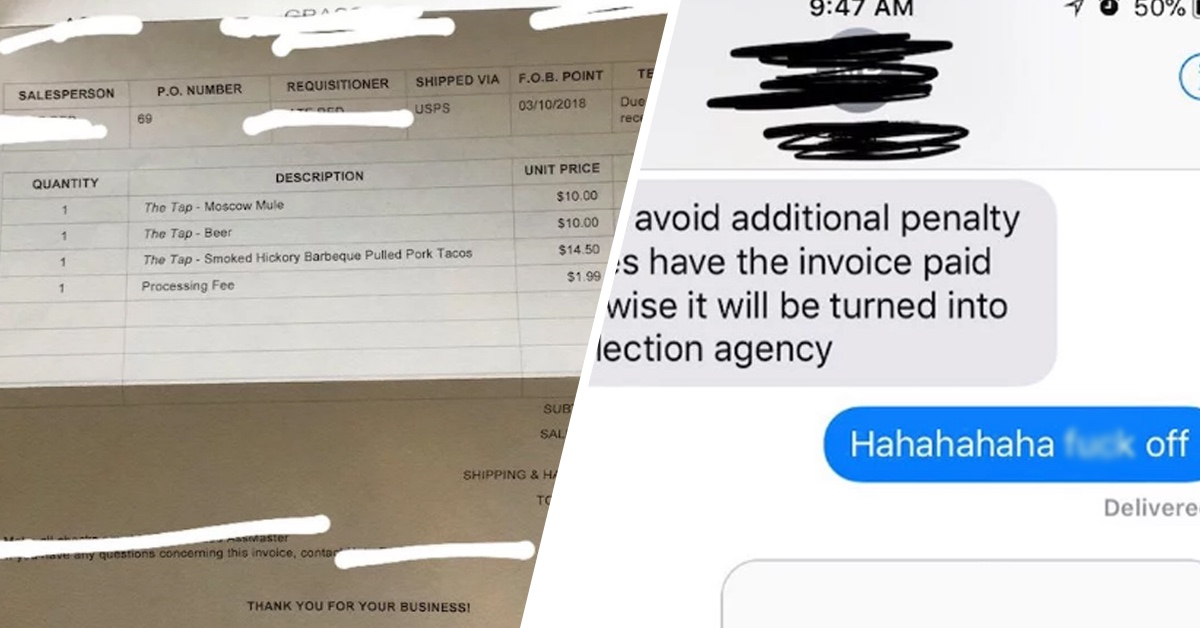 This Guy Actually Sent A Girl A Bill For Their Date After She Ghosted Him