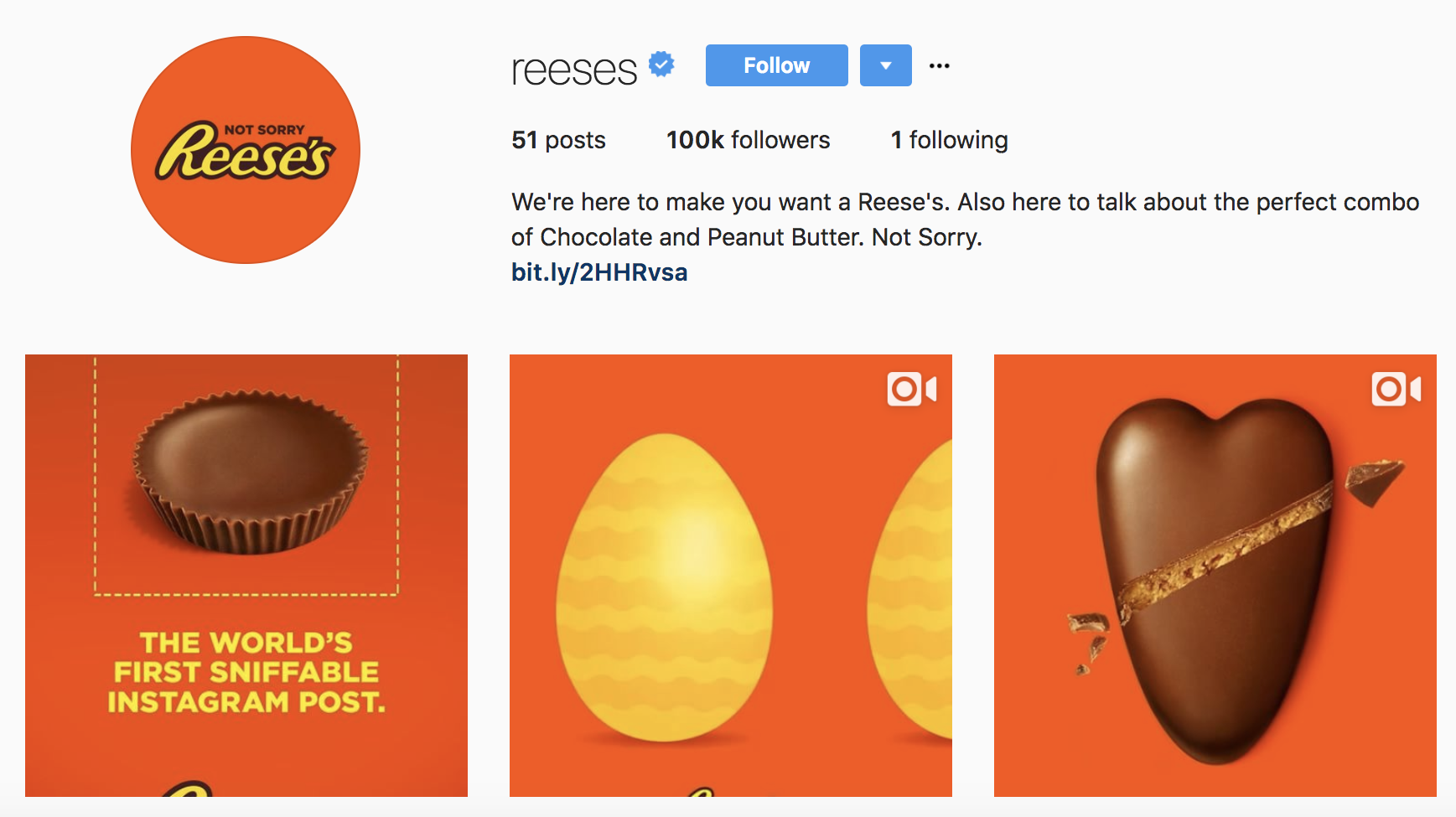 Reese's Peanut Butter Cups Only Follows One Person On Instagram—And It's Everything