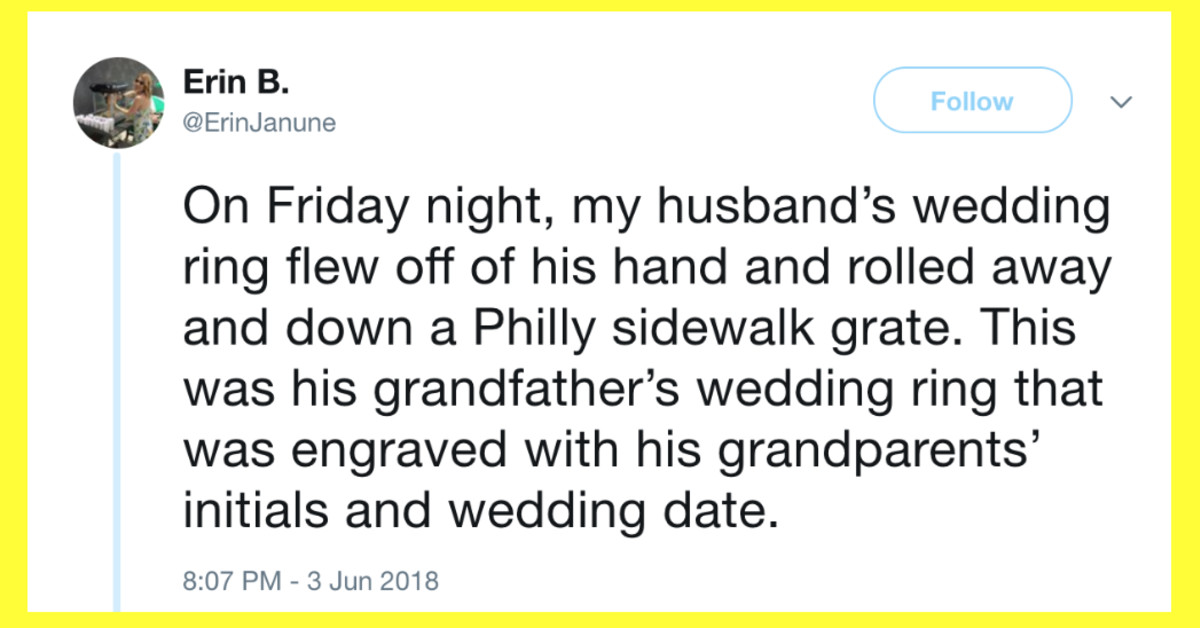 Woman Shares The Heartwarming Story Of How Complete Strangers Helped Save Her Husband's Wedding Ring